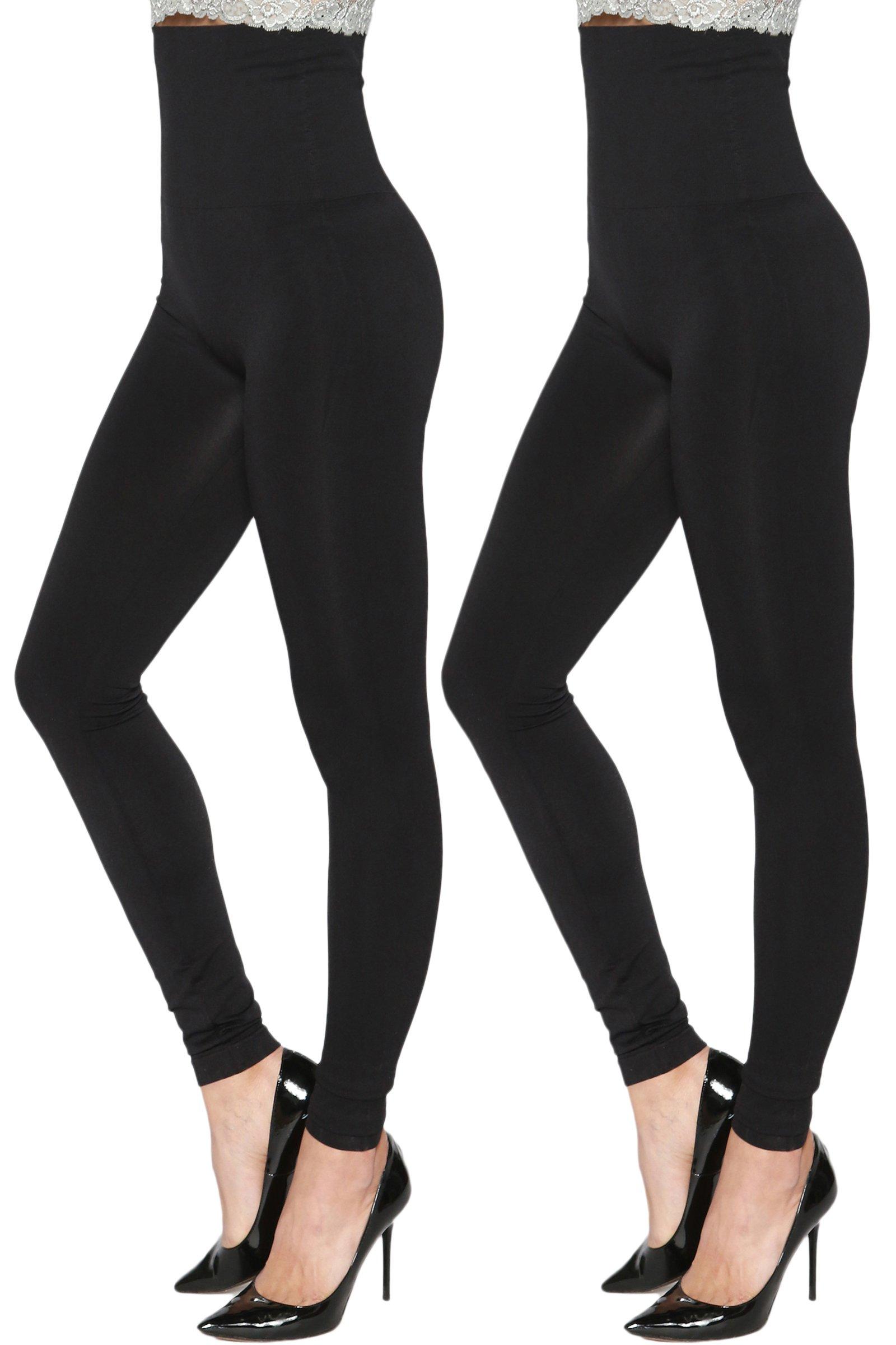 TheMogan Women's Empire Waist Tummy Compression High Waist Leggings 2 Pack Black