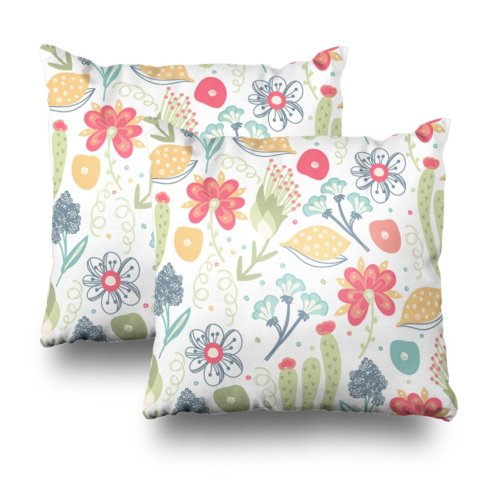 Soopat Decorativepillows Covers 18''x18'' set of 2, Two Sides Printed Floral Creative Flowers Artistic Blossom Abstract Herb It Can Be Used Wall iles Wrapping Card Throw Pillow Cases