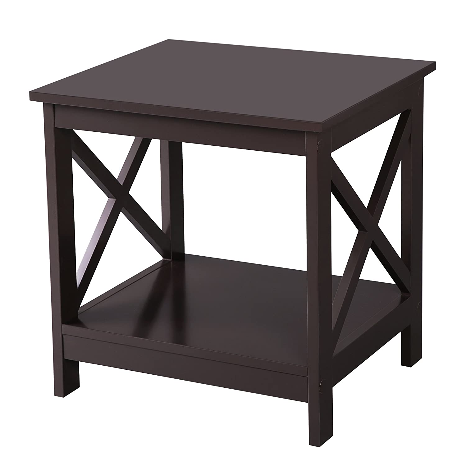 tables for the living room. SONGMICS X Design Sofa End Table Wooden Side Nightstand with 2  Display Shelves for Living Room Tables Amazon com