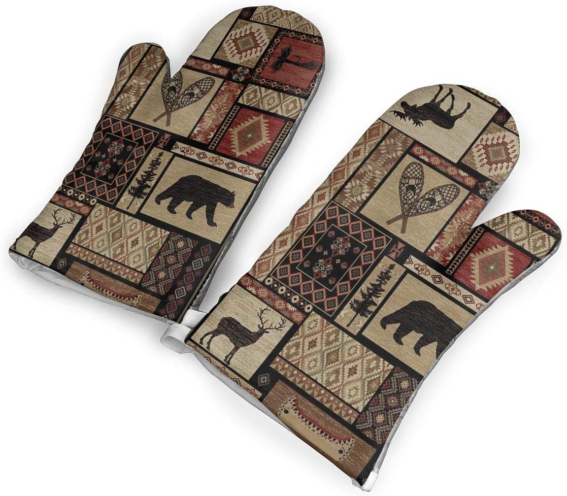 EDCAGART Oven Mitts Rustic Lodge Bear Moose Heat Resistant 1 Pair of Non Slip Kitchen Oven Gloves for Cooking Baking Grilling Barbecue Potholders