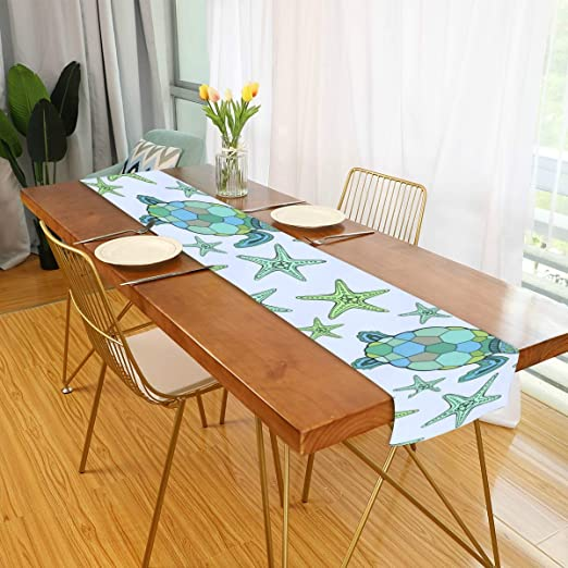Amazon Com Farmhouse Table Runner For Home Kitchen Dining Table Coffee Table Decor Dining Room Table Decor Blue Sea Turtle Starfish Table Linens For Indoor Outdoor Everyday Uses 13x90in Home Kitchen