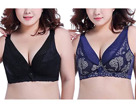 21cc2f05cd Image Unavailable. Image not available for. Color  PLUS GUIDED 2 Pcs Women  Underwire Push-up Bra Plus Size Floral Lace Soft Cup