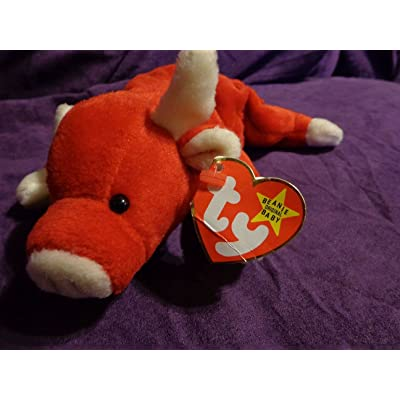 "RARE Retired ""Snort the Red Bull"" Ty Beanie Babies w/near MINT tags, PVC Pellets, No # Stamp, Errors: Toys & Games"