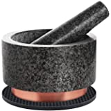X-cosrack Mortar and Pestle Set Granite Pestle Bowl and Mortar with Copper Base and Anti-Scratch Pad, Large Stone…