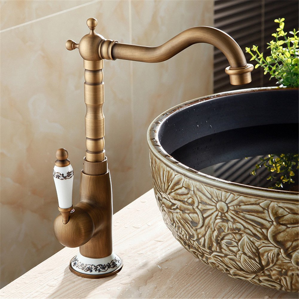 Bijjaladeva Antique Bathroom Sink Vessel Faucet Basin Mixer Tap All copper antique kitchen faucet and cold water mixture can be redated 360° to wash dishes tap Tap A pool.
