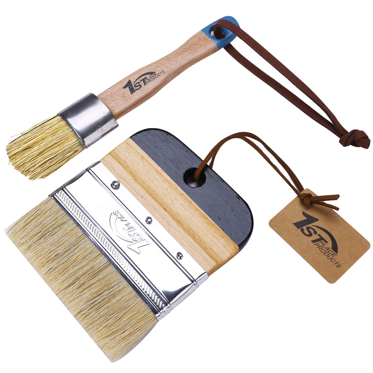 1st Place Products Chalk & Wax Flat Brush Set - Pure Natural Bristles - Excellent for Large & Detailed Surfaces - Painting, Waxing, DIY, Home Decor by 1st Place Products