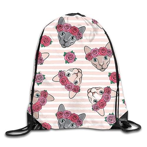 Dama Home Sphynx con flores - Rayas rosadas - Gato sin pelo - LAD19_10482 Mochila con