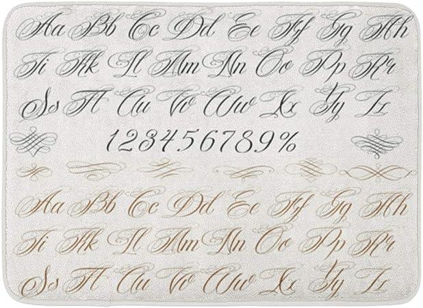 Soefipok Tapis De Bain Caligraphie Cursive Calligraphie Tatouage Alphabet Nombres Ecriture Script Lettre Salle De Bains Decor Tapis Amazon Fr Cuisine Maison