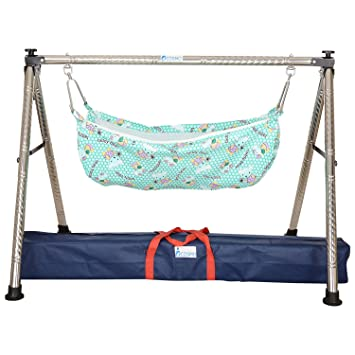 cosmo indian style semi   folding stainless steel ghodiyu  baby cradle  with hammock buy cosmo indian style semi   folding stainless steel ghodiyu      rh   amazon in