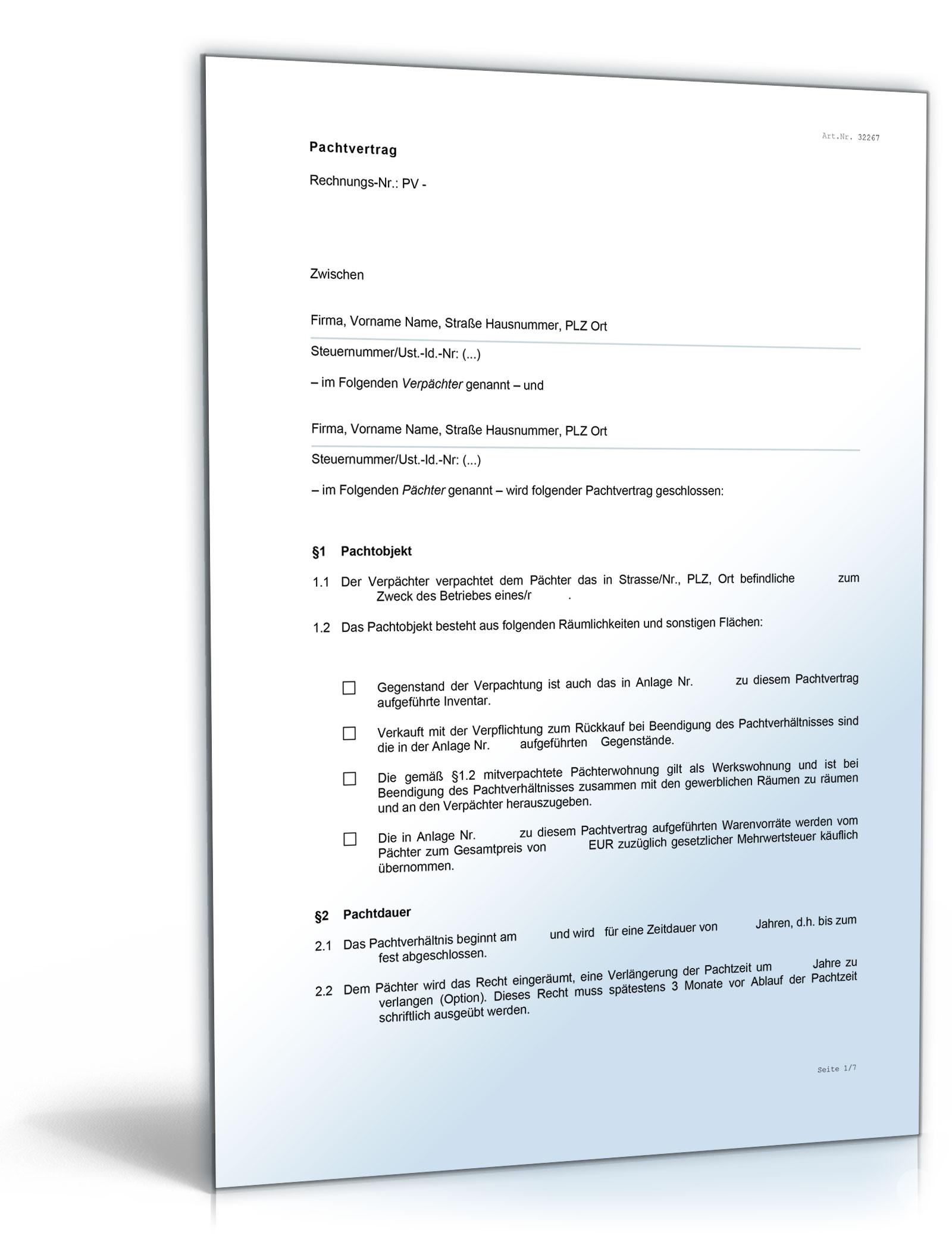 gaststtten pachtvertrag word dokument download amazonde software - Kundigung Pachtvertrag Muster