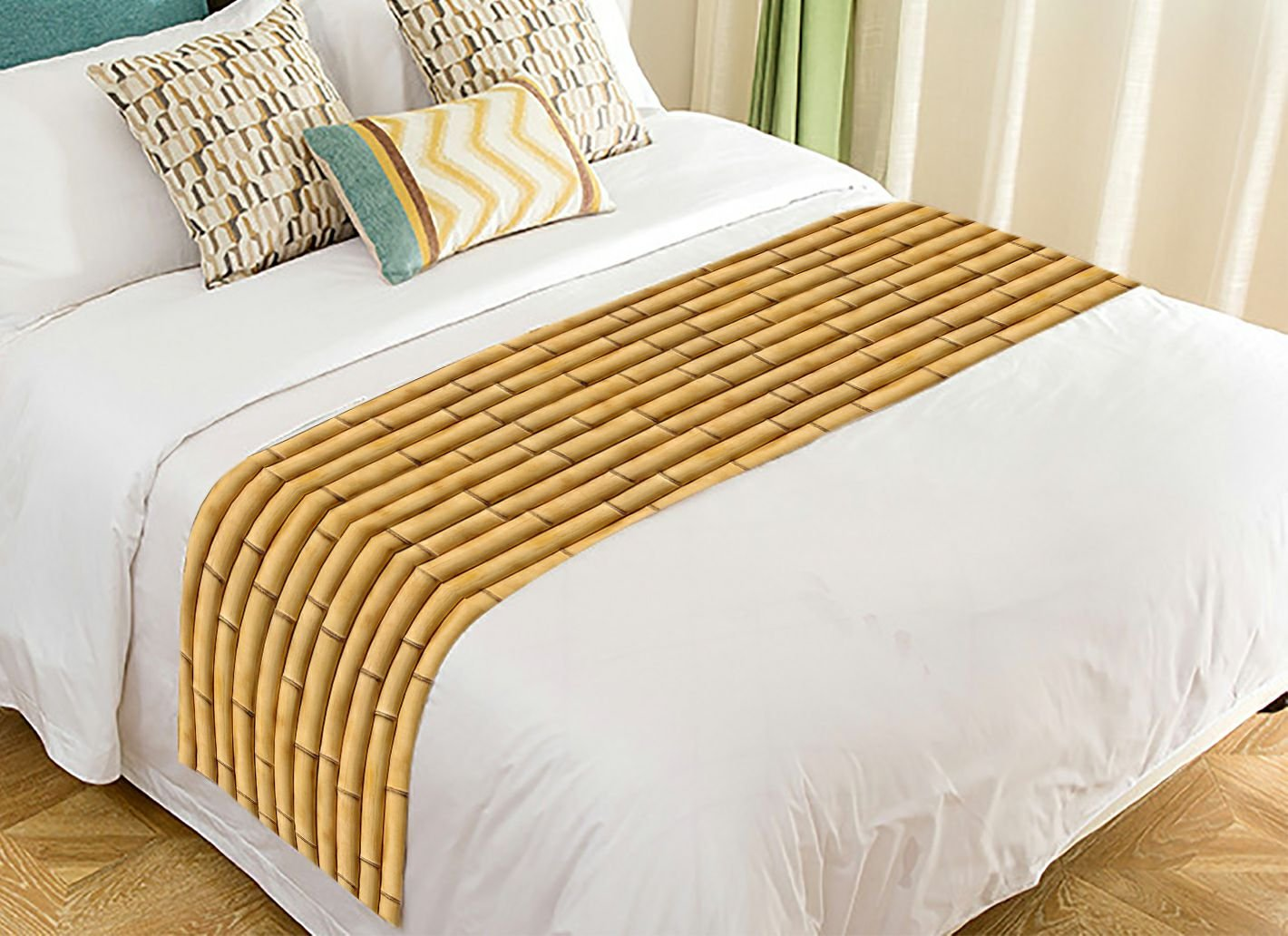 Custom Nature Bamboo Wall Bed Runner Cotton Bedding Scarf Bedding Decor 20x95 inches