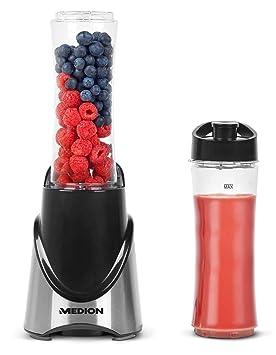 Medion MD 16044 - Batidora de vaso, 300 vatios de potencia, caja de acero inoxidable y tapa de hidratación con gancho de seguridad, color negro metálico: ...