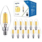 Jslinter B11 LED Candelabra Light Bulbs, E12 Base Dimmable Filament Candle Bulb for Chandelier, 2700K Warm White, 40W…