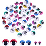 X-Mile 150PCS Mini Moving Wiggle Googly Round fake Eyes Plastic Self-adhesive Toy Accessories for Doll Making Scrapbooking Crafts Educational Tool DIY Christmas 2cm 1.5cm 1cm Assorted Color