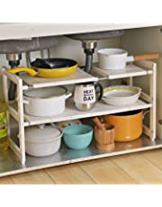 OBOR Expandable Home Organizer Rack - 2 Tier Multifunctional Under Sink Organizer Home Storage Rack with Removable Shelves and Steel Pipes for Kitchen Bathroom