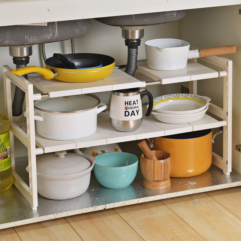 OBOR Organizador extensible para debajo del fregadero – 2 niveles multifuncional de almacenamiento con estantes extraíbles y tubos de acero para cocina, baño y jardín