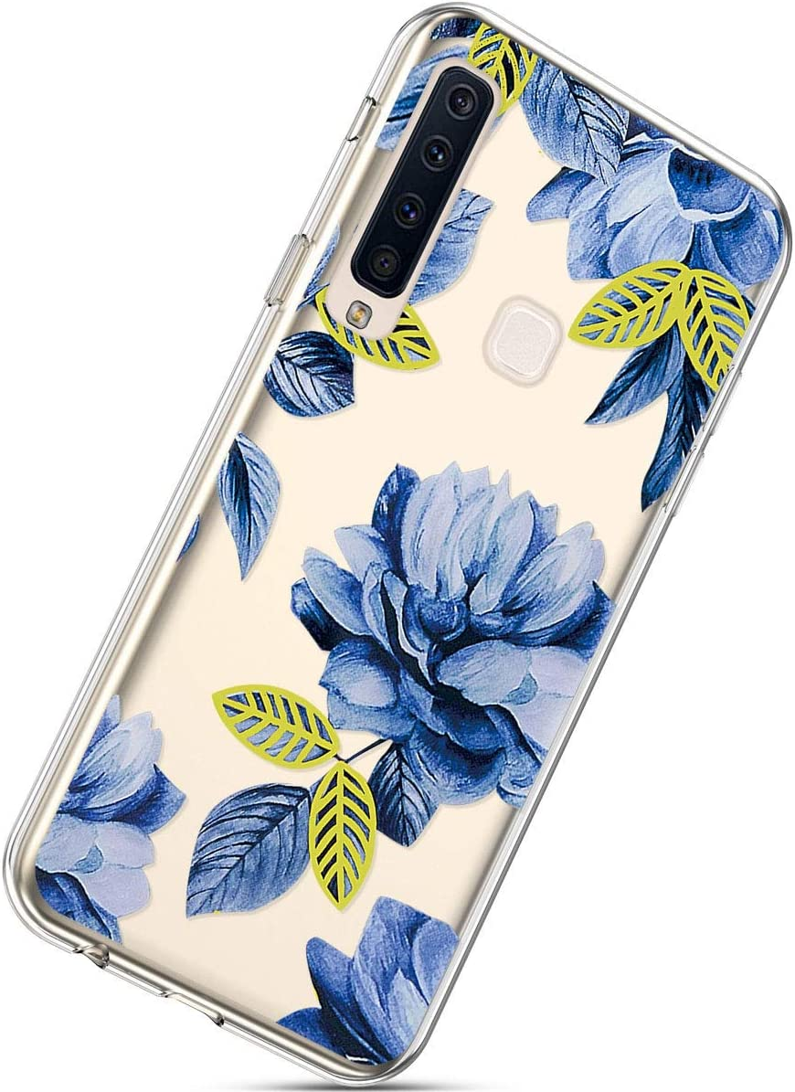 White Cherry Blossoms Herbests Compatible with Samsung Galaxy A9 2018 Phone Case with Flowers Slim Shockproof Clear Floral Pattern Ultra Thin Transparent Soft Flexible TPU Back Phone Cover