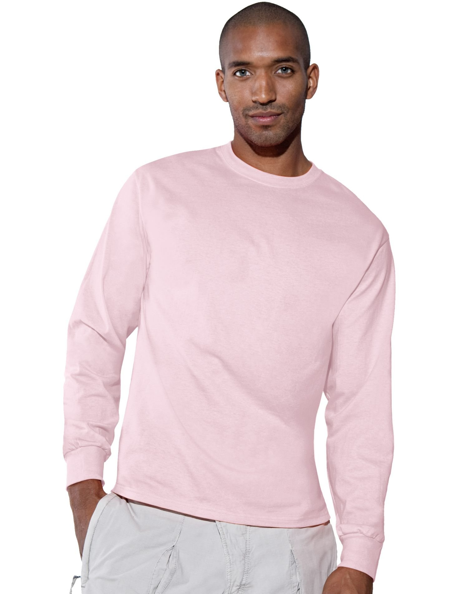 Hanes - Tagless 100% Cotton Long Sleeve T-Shirt. 5586 (Pale Pink) (Small)