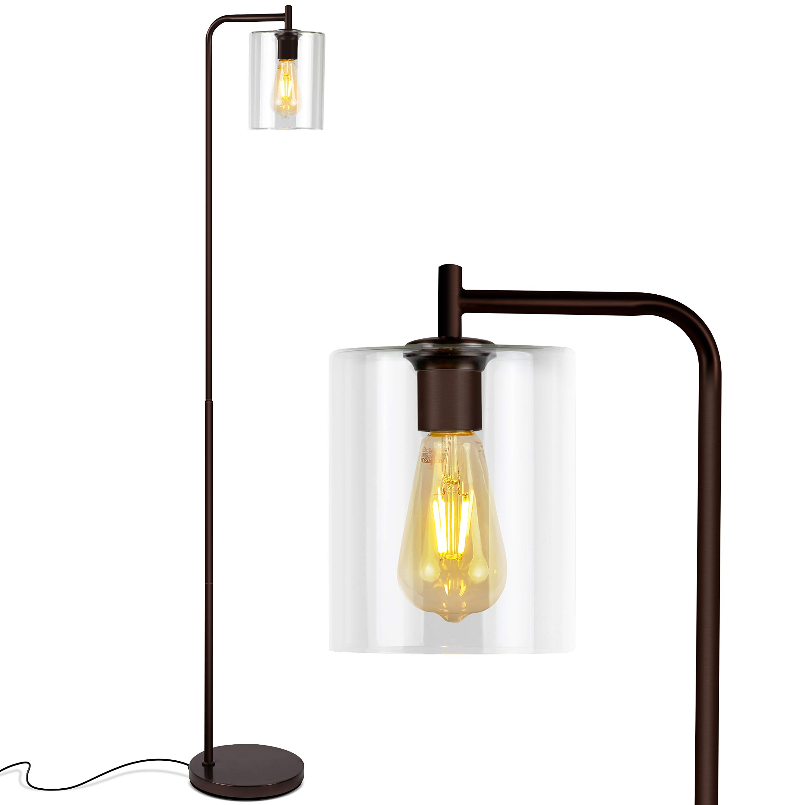 Brightech Elizabeth - Bedroom & Living Room LED Floor Lamp - Standing Industrial Light with Hanging Glass Lamp Shade - Tall Pole Downlight for Office - with LED Bulb - Oil Brushed Bronze by Brightech