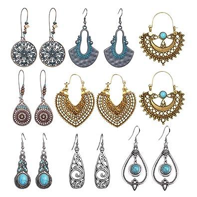 df7d484abdd45 SUNNYOUTH Vintage Statement Drop Dangle Earrings Bohemian National Style  Hollow Water Drop Heart Shaped Alloy Long Boho Dangle Earrings for Women ...