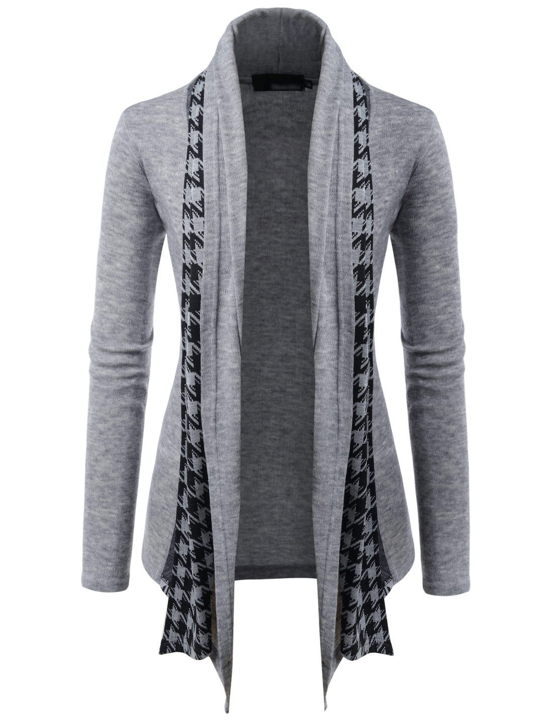 (GD92) Slim Fit Hound tooth Check Open Front Shawl Collar Stylish Wool Cardigan GRAY US L(Tag size 2XL)