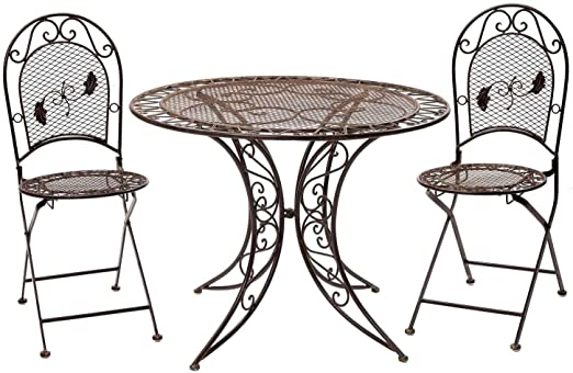 Da giardino tavolo giardino tavolo BISTROT FERRO STILE ANTICO mobili da giardino marrone