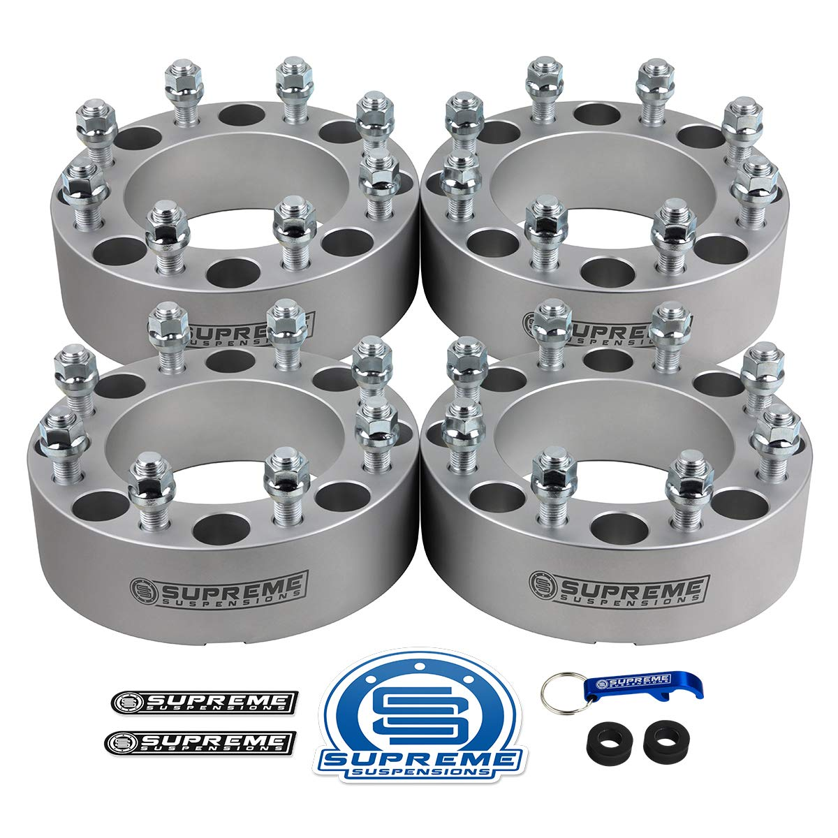 Supreme Suspensions - (4pc) 1994-2009 Dodge Ram 2500 2'' Wheel Spacers 8x6.5'' (8x165.1mm) with 9/16''x18 Studs [Silver]