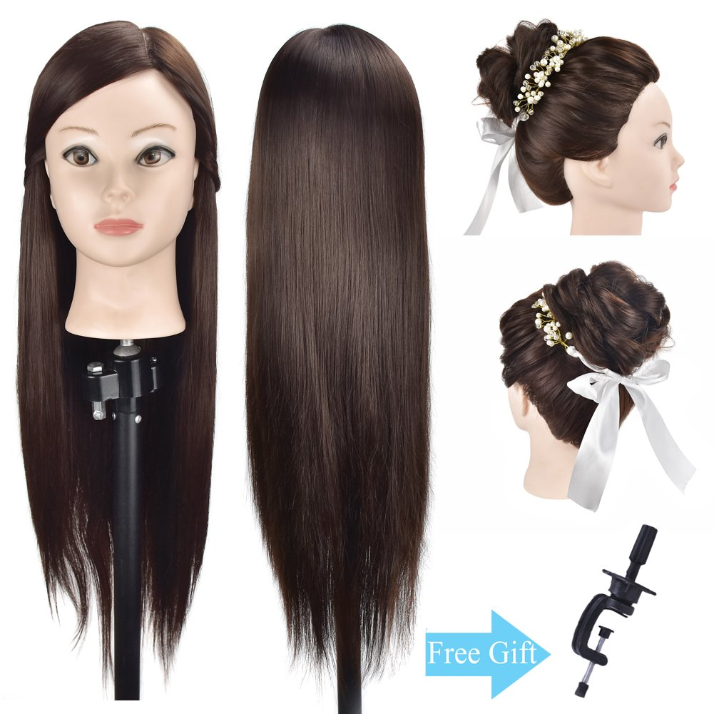 26 Training Head Cosmetology Hair Styling Head Mannequin Head Manikin Model Head Hairdresser Synthetic Hair with Free Clamp Ba Sha