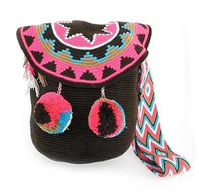 Hand Woven Crochet Bucket Bagw Pom Pom Handbags Amazoncom