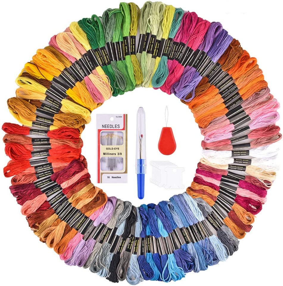 100 Skeins Rainbow Color Embroidery Floss Hisome Cross Stitch Threads for Friendship Bracelets Floss Craft Floss with Cross Stitch Tool Kit