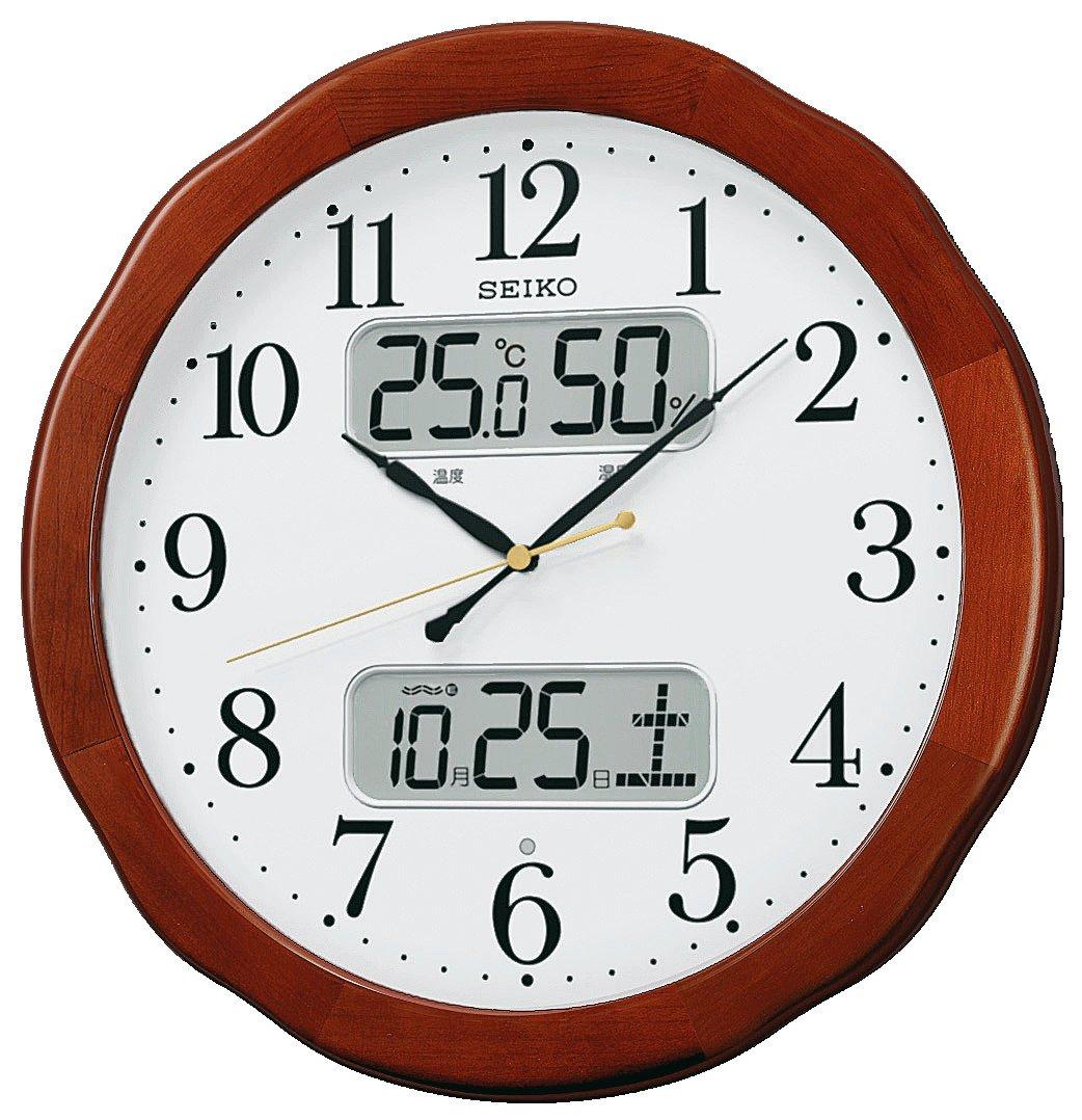 セイコー クロック 掛け時計 電波 アナログ カレンダー 温度 湿度 表示 木枠 茶 木地 KX369B SEIKO B00B7Z49N6