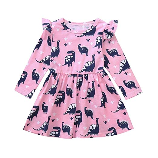 228bff4a46 Amazon.com  Vinjeely Toddler Girls 1-5 Years Old Long Sleeve Dinosaur  Printing Ruffle Dress Fall Outfits Clothes  Clothing