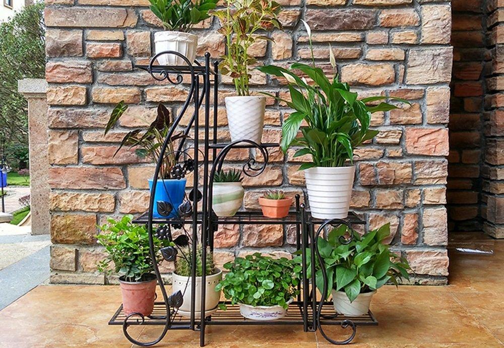 Flower Rack-Jack Mall Cremagliera in Stile Stile Fiorito in Stile Europeo (colore   Nero, Dimensioni   42.5  68.5cm)