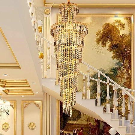 Giow Moderna lámpara de Escalera de Oro Araña Larga Villa Lámpara de Doble Escalera Lámpara de Cristal Sala de Estar Araña Grande Lámparas Colgantes para el hogar Lámpara Colgante: Amazon.es: Hogar
