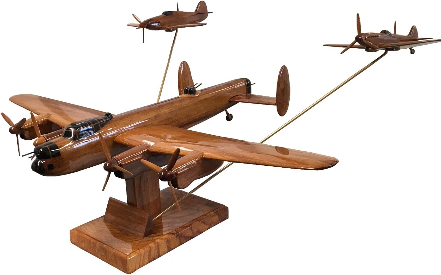 WW2 Triple Set Lancaster,Spitfire,Hurricane - British Military Aircraft - Executive Wooden Desktop Model (Mahogany)