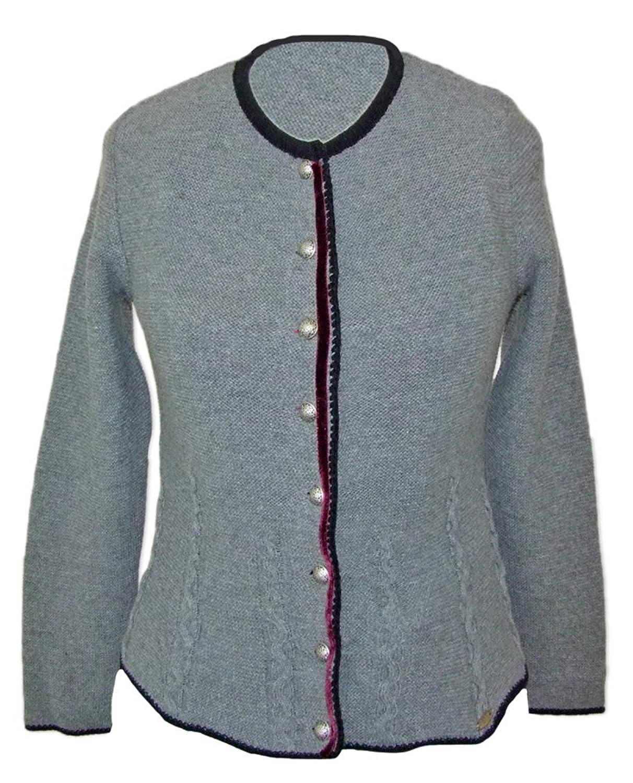 Trachten Strickjacke Nicki Grau / Schwarz - Hochwertiger Trachten Janker für Damen zum Oktoberfest oder der Kirchweih
