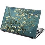 TaylorHe Laptop Skins - Pegatina de vinilo para portátil (15,6'', efecto cuero), diseño árbol en flor
