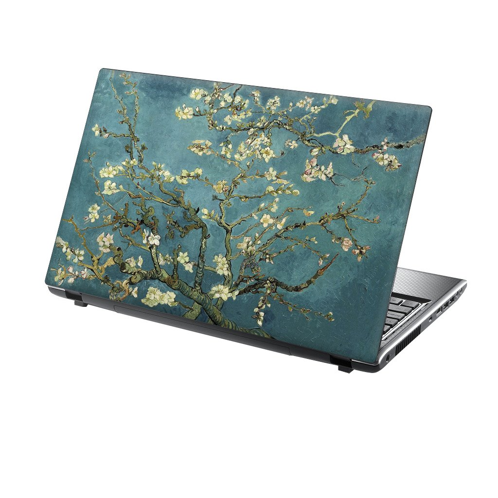 TaylorHe 13-14 inch Laptop Skin Vinyl Decal with Colorful Patterns and Leather Effect Laminate MADE IN England Pink Blue Abstract Painting