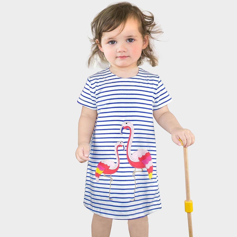 Kids Girls Dress Long//Short Sleeve Cotton Cartoon Animal Applique Flamingo Unicorn Pattern Dress Little Girls Cotton T-Shirt 1-8 Years Old