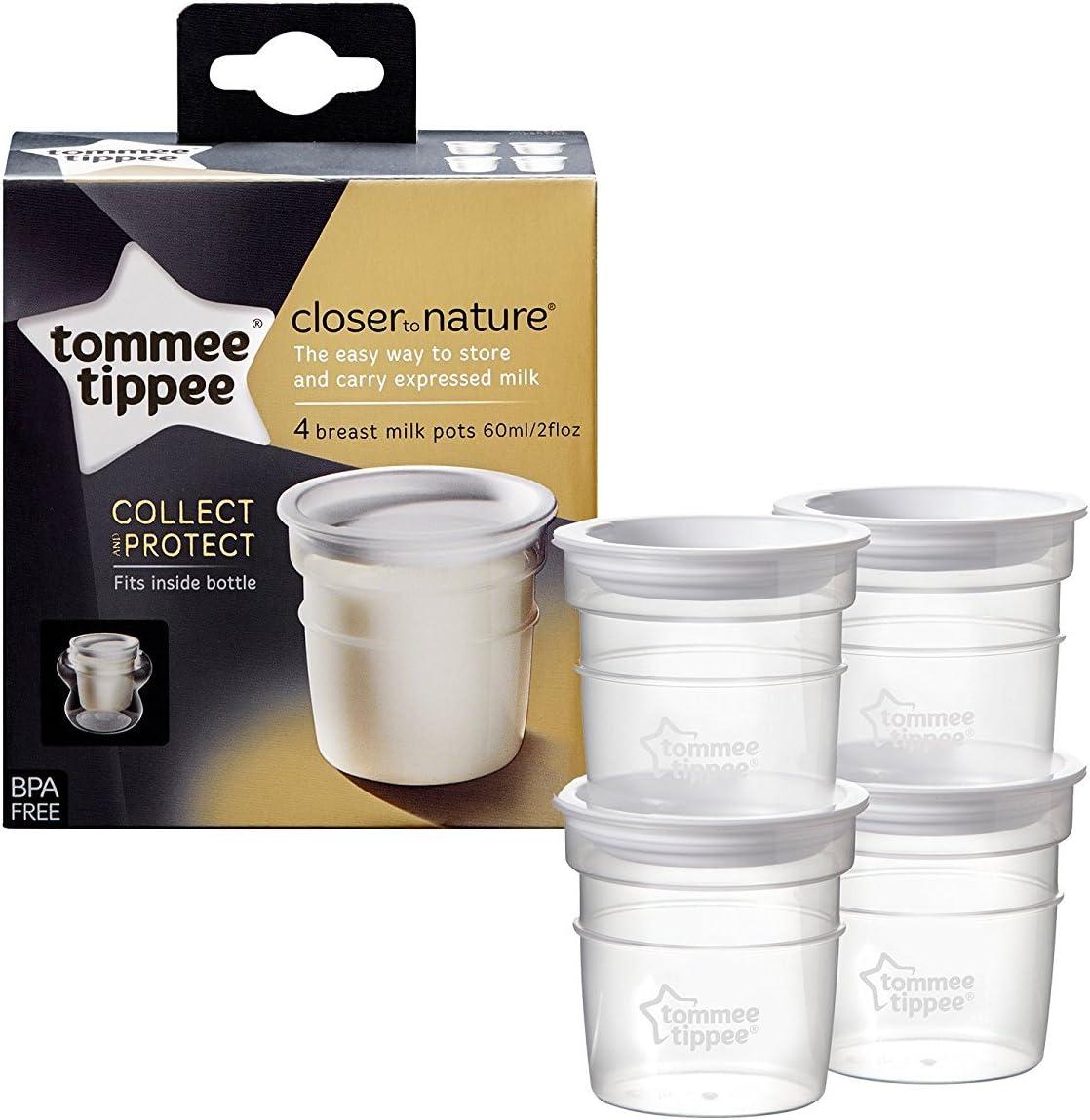 libre de BPA, 0 m+ macetas Tommee Tippee Juego de 4 ollas de almacenamiento de leche para beb/és