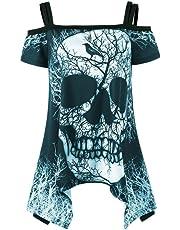 BCDshop Women Short Sleeve Irregular Cold Shoulder Skull T-Shirt Top Fashion Blouse