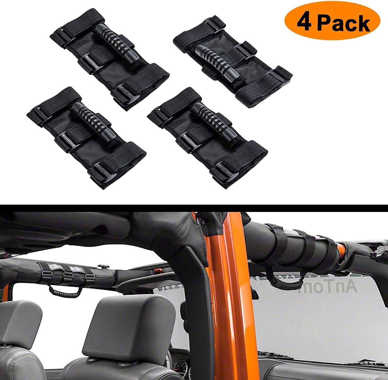 Grip Handle for Jeep Handles Wrangler JL Accessories Fits 1955-2019 Models JK JL JKU CJ CJ5 CJ7 YJ TJ AnTom Jeep Wrangler Roll Bar Grab Handles
