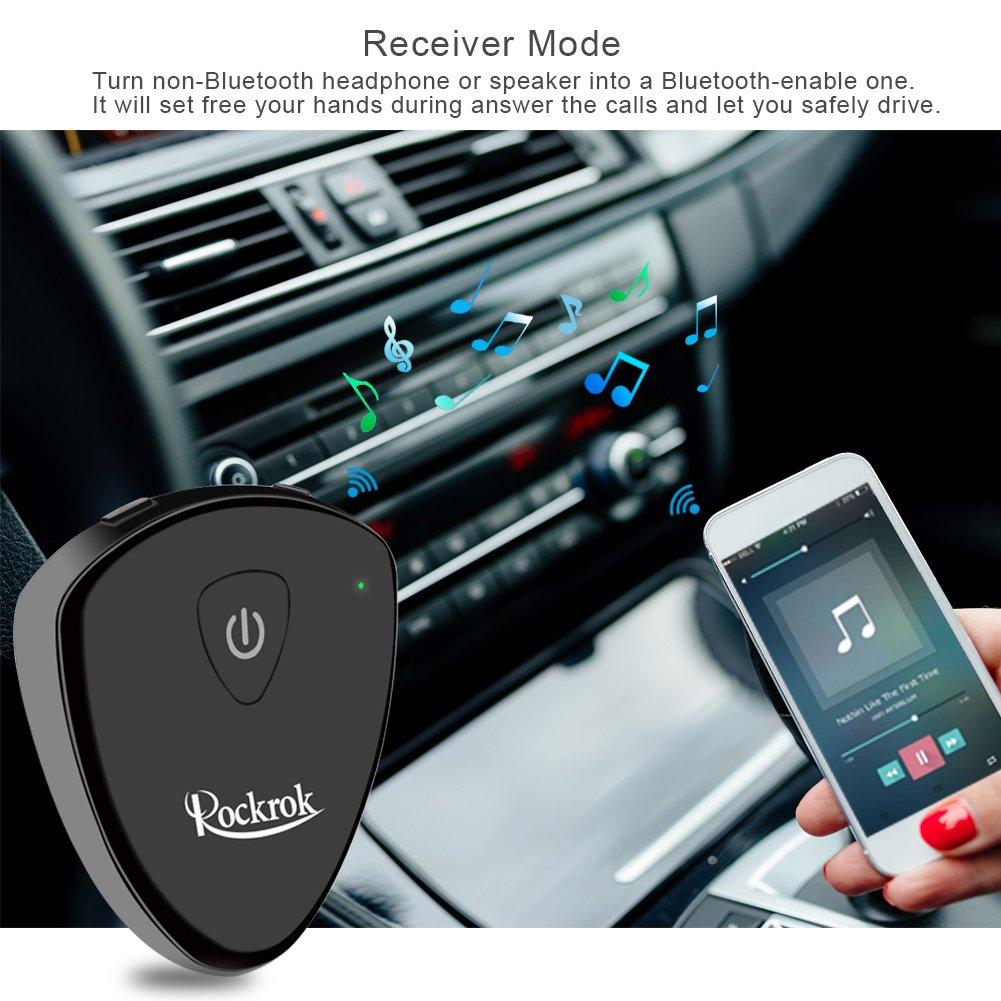 Bluetooth Transmitter Receiver, Rockrock 2-in-1 Wireless Bluetooth Audio Adapter with 3.5mm Stereo Output for Car Kit Headphone Speakers TV PC MP3/MP4 Cellphone Tablets- APTX Low Latency by Rockrok (Image #3)