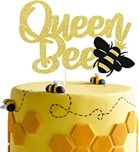 Gold Glitter Queen Bee Cake Topper, Bumble Bee Themed Happy Birthday Decor, Mother's Birthday Party Decor Party Supplies Decorations