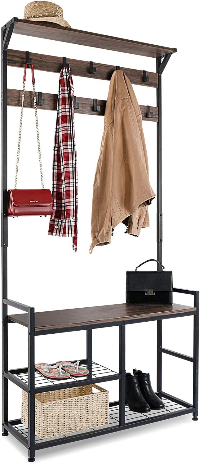 FCNEHLM Black Entry Way Bench with Coat Rack 5-in-1 Hall Tree Storage Shelf 201207YMJ-02 Easy to Assembly