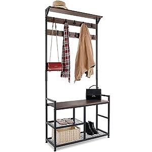 HOMEKOKO Coat Rack Shoe Bench, Hall Tree Entryway Storage Shelf, Wood Look Accent Furniture with Metal Frame, 3 in 1 Design