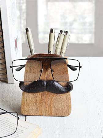 Beautiful Spectacle Holder Wooden Eyeglass Stand Moustache Shaped Handmade Display  Optical Glasses Accessories With Pen Pencil Stand