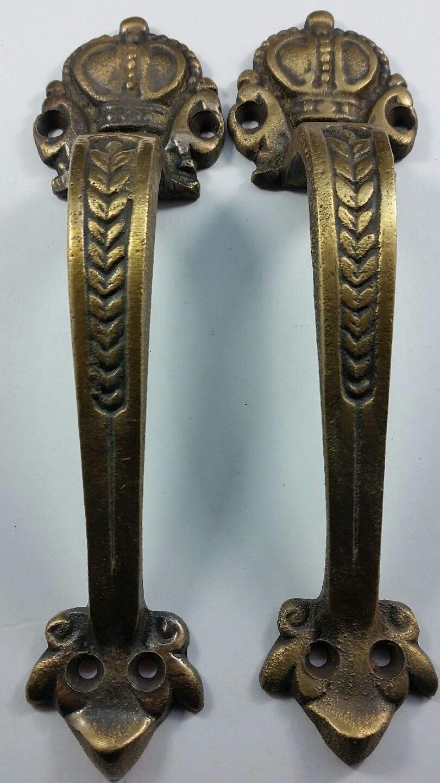 2 Brass Handles 6 3/4'' Pulls Door Cabinet Antique Barn Gate Crown Motif #P10