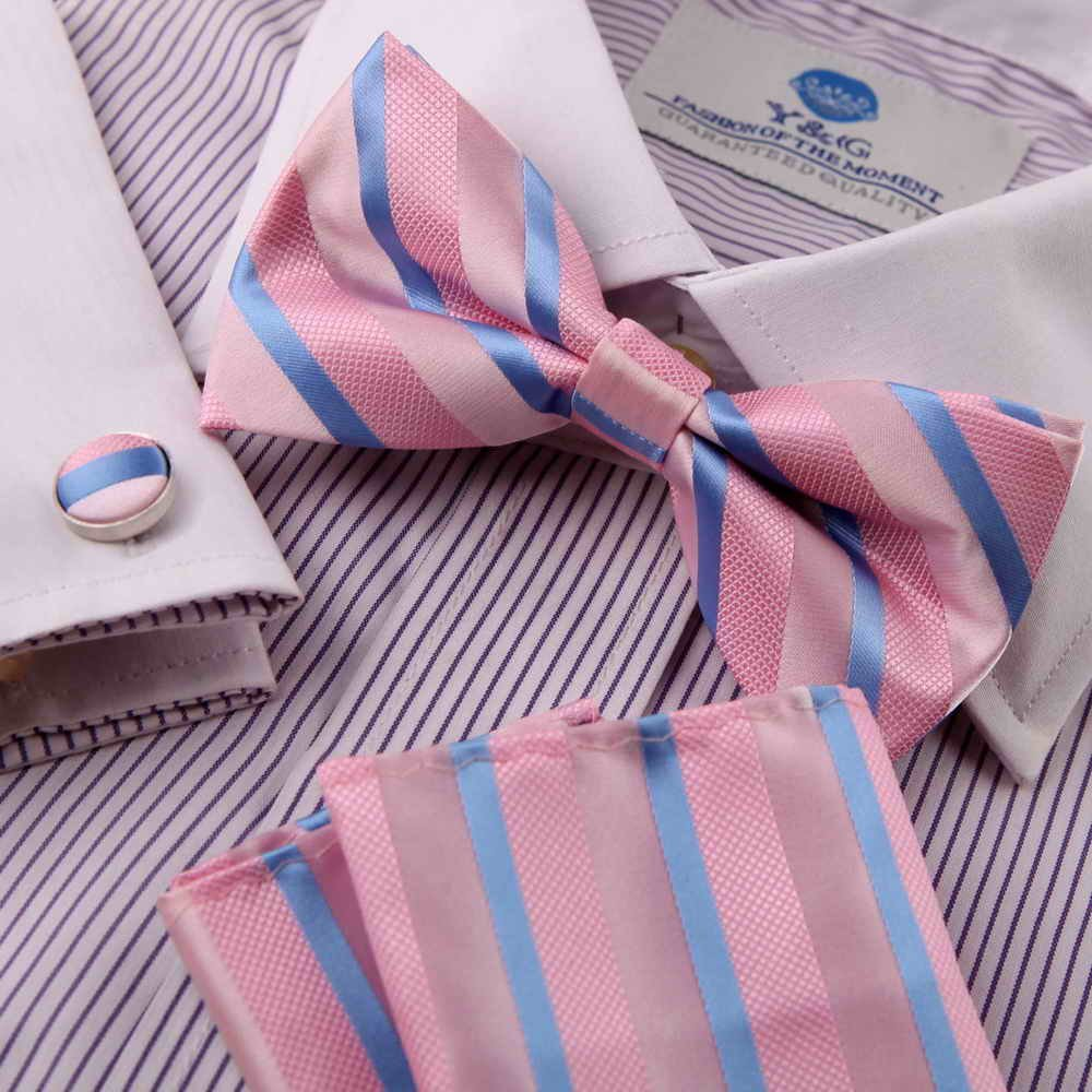 EBC1A05 Fitted Design Stripes Silk Pre-tied Bowties Cufflink Hanky Set By Epoint