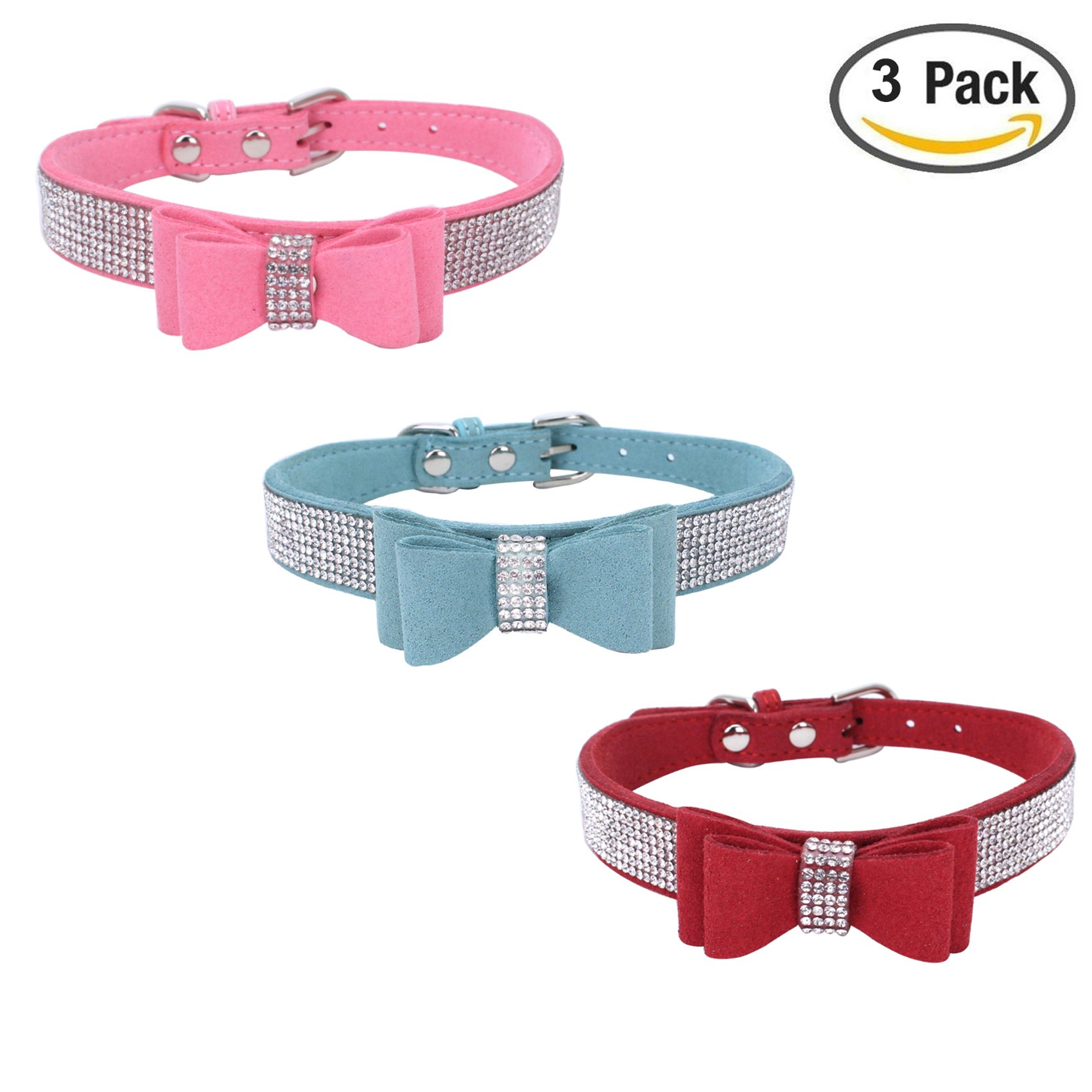 Newtensina 3pcs Fashion Dog Collar with Bow Tie Cute Bling Kitten Collar for Small Dog Cats